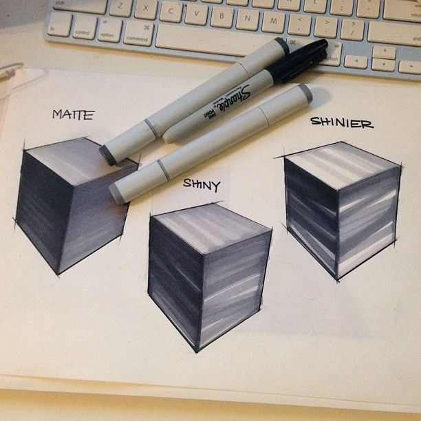 This drawing shows that if you would like to create a shinier surface use less copic and more white spaces, while matte surfaces are full coloured