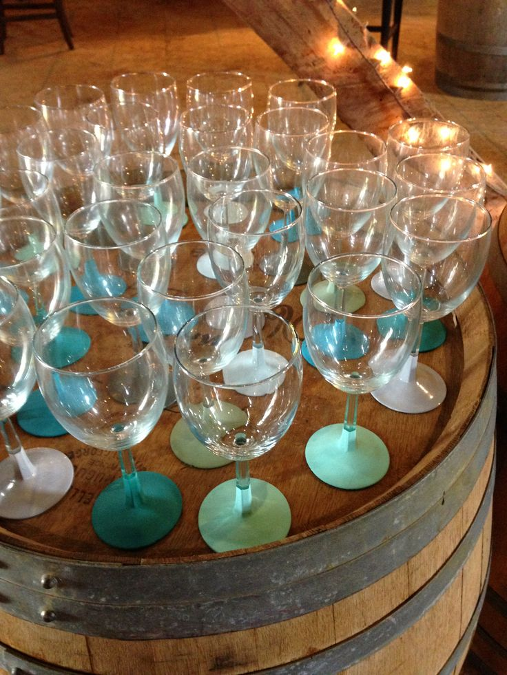 hand painted wine glasses. perfect wine bridal shower favor!