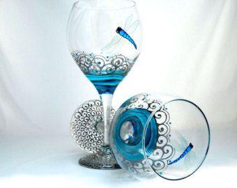 Blue Dolphin Wine Glasses Hand Painted Ocean Decor Tabletop Glassware Art on Glass Goblets by SkySpiritStudios