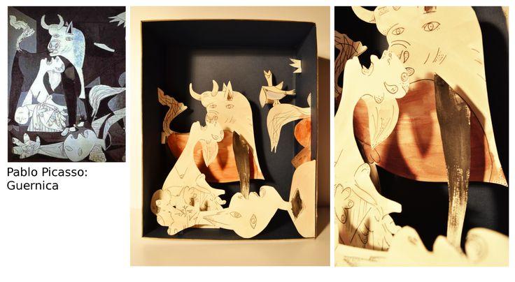 Kormányos Fanni, dioráma Picasso Guernica c. képe alapján / Kormányos Fanni, diorama - after Picasso