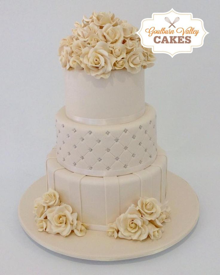 3 Tier Wedding Cake with hand made roses