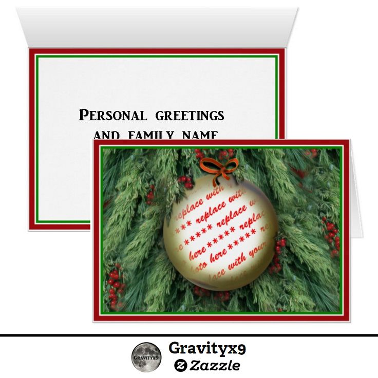 Add a photo and your personal message to this Christmas Tree Ornament PhotoFrame Greeting Card by #Gravityx9 Designs #ILoveXmas. Greeting cards are available in three size options. #AddaPhoto #Frames4you #PhotoCard #photoChristmasCard