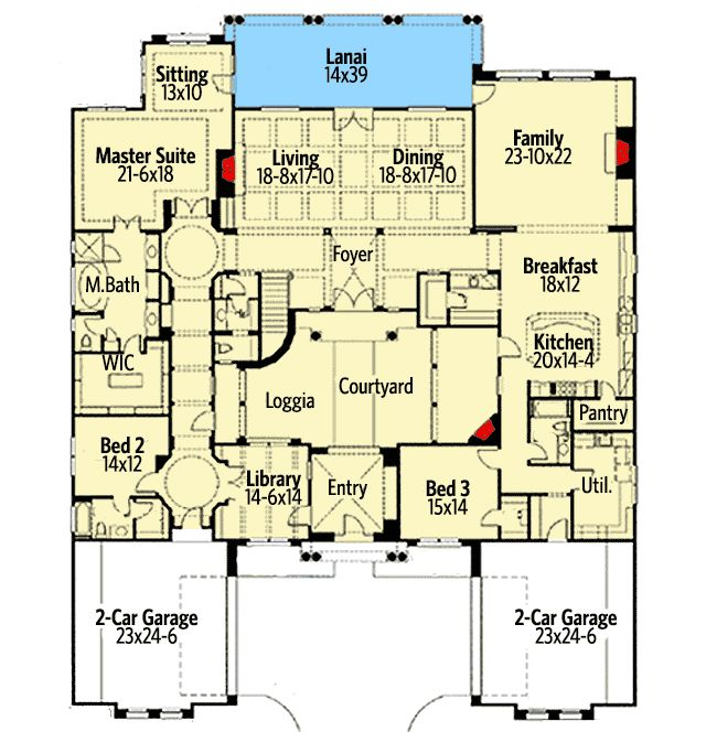 Exciting Courtyard Mediterranean Home Plan - 16826WG | Architectural Designs - House Plans