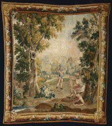 """Art Institute Chicago """"Archery from Amusements Champêtres (Country Sports)"""", 1770/1790.  After a design in the manner of François Boucher (French, 1703–1770), attributed to Jacques-Nicolas Julliard (1719–1790) Woven at an unknown workshop at the Manufacture Royale d'Aubusson France, Aubusson.  Wool and silk, slit and double interlocking tapestry weave 247.65 x 276.86 cm  Gift of Honoré Palmer."""