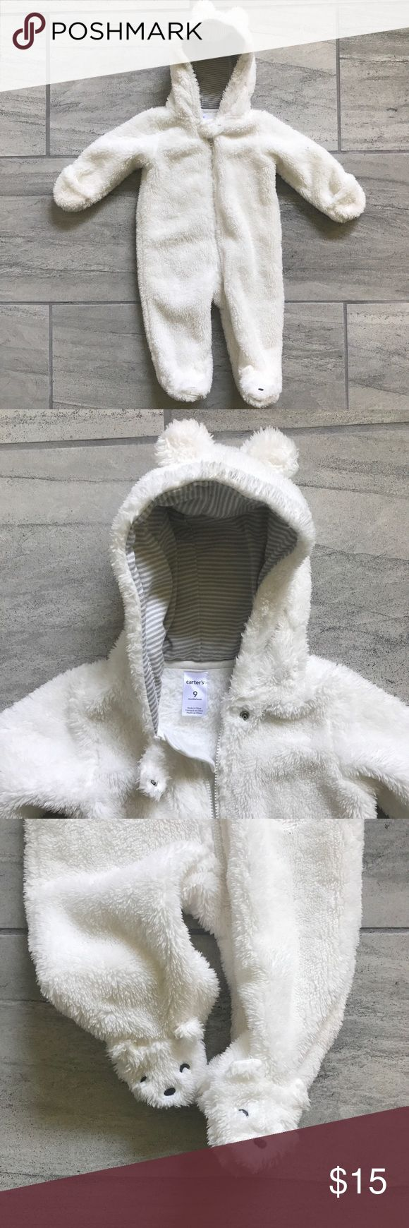 Hooded Sherpa bunting Lined hood with ears. Can fold back hand cover. Bears on the feet. EUC, couple dots of dirt on the bottom from sitting outside. Sf/pet friendly home Carter's One Pieces Footies