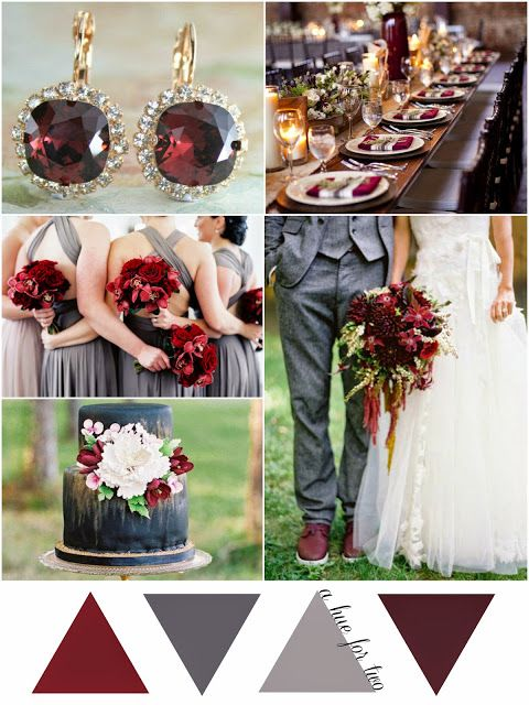 Marsala and Grey Wedding Color Scheme - Wedding Colours - Pantone Colour Of The Year 2015 - A Hue For Two