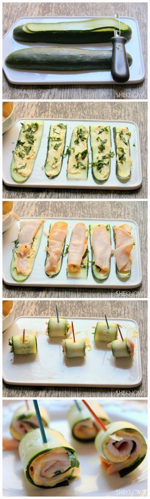 "Good Snack Ideas ♥ Easy Snack Foods ""Sick of boring work lunches? Pack these Cucumber roll-ups with hummus and turkey or replace it with smoked salmon and cream cheese."""