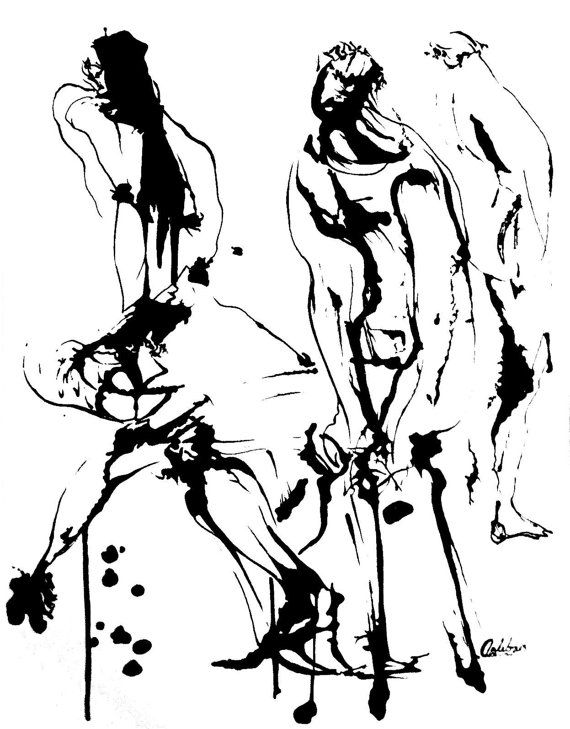 Original Abstract Human Figure Ink Drawing by JBsFineArtGallery, $30.00