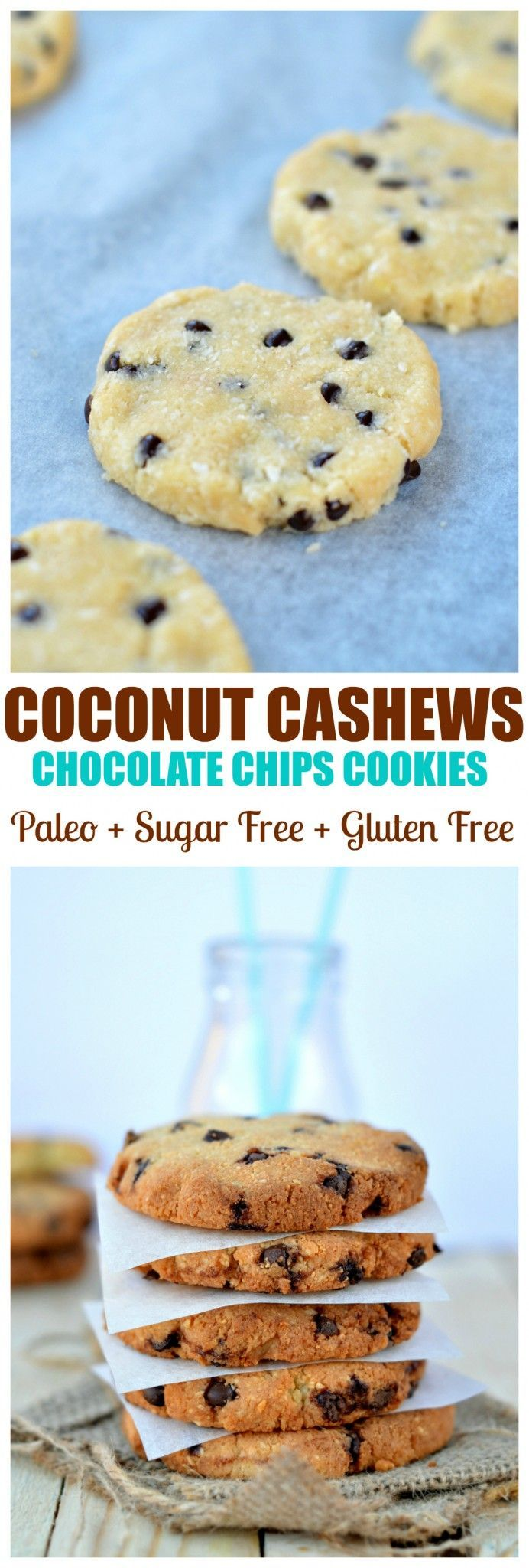 Coconut + Cashews + coconut flour = healthy Paleo cookies. Moist & Crispy outside. They are also Gluten free, dairy free, grain free and sugar free too! -- maybe try with honey instead of stevia