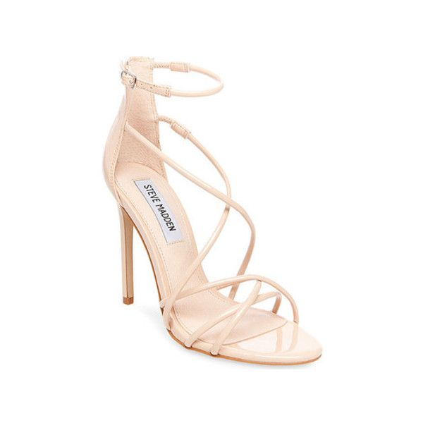 Women's Steve Madden Satire Ankle Strap Sandal ($68) ❤ liked on Polyvore featuring shoes, sandals, dresses, heels, tan, tan high heel sandals, steve madden sandals, adjustable strap sandals, high heeled footwear and strap sandals
