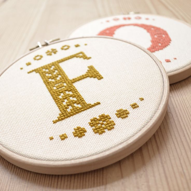 Package Ties? - Cross Stitch Letters.  These would be great in a family room or as a gift! #cross_stitch #monogram