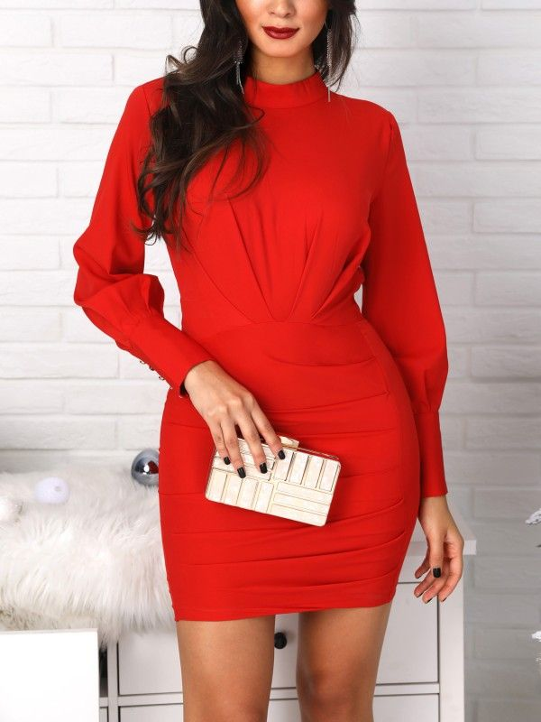 CHICME Ladies Fashion Lantern Sleeve Open Back Ruched Bodycon Dress