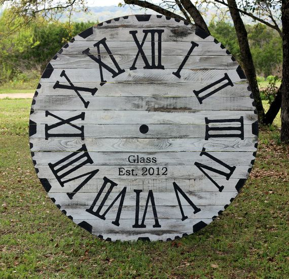 "Oversized Rustic Wood Wall Clock - 36"" - 60"" Decorative Vintage Wall Clock with Roman Numerals"