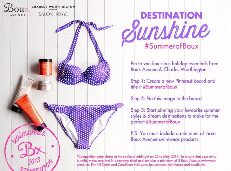 Create your #SummerofBoux pinterest board for a chance to #win luxurious summer essentials from Boux Avenue & Charles Worthington