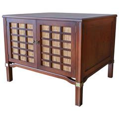Walnut And Grasscloth Cabinet With Brass Detail. Old World FurnitureShop ...