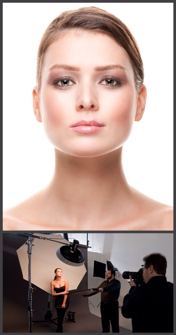 """How to do a perfect """"beauty style"""" headshot. create a similar look you will need only two lights - a large softbox that will act as a background and will make the light wrap around the face of the subject (only make sure to tilt the light back at a 45° angle), as well as Beauty Dish that you need to put up high, directly in front of your subject, but angled down at 45°"""