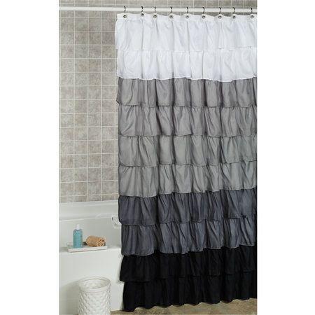 Maribella Charcoal Ombre Ruffled Shower Curtain