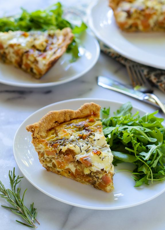 Sweet Potato Quiche with Goat Cheese, Caramelized Onions, and Rosemary - inspired by French quiche