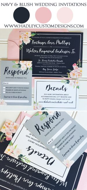navy blush wedding invitations elegant wedding invitations classic wedding invitations formal wedding - Navy And Blush Wedding Invitations