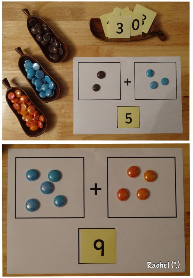 "Super simple way to work on combining numbers - from Rachel ("",)"