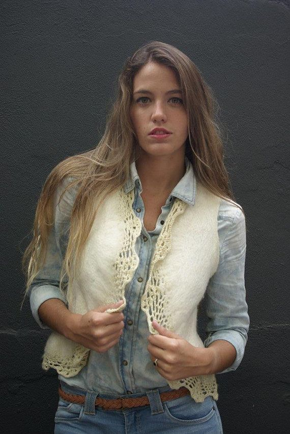 Natural vest cream wool vest felt summer vest by quirogaquiroga