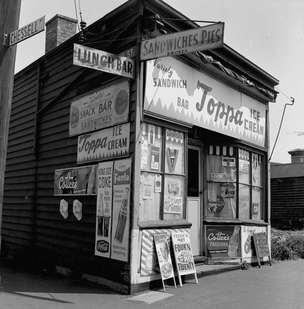 Melbourne, possibly Flinders St. Banana Alley end). 1961 (NOTE vanished Australian brands ) or the Corner of Clarendon St Chessell St, Sth Melb.