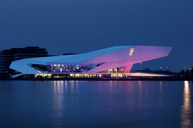 The new film museum in Amsterdam looks like a sheet of floating ice.