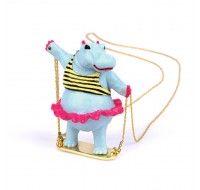 Swinging Hippopotamus long necklace