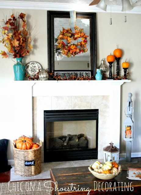 Fall Mantel, Aqua and Orange