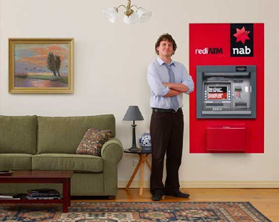 """In the spirit of ultimate convenience, and making our ATM network one of the most accessible in the country,"""" an NAB promotional site says, """"We thought, hey why not see if someone wants an ATM in their loungeroom?"""""""