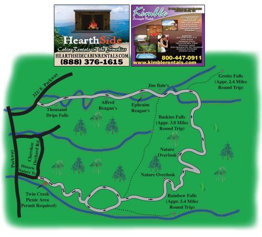 Roaring fork motor nature trail map for God s gift cabin gatlinburg
