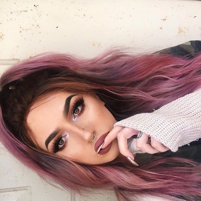 Lunar Tides Smokey Mauve + Smokey Purple Hair Dye combo on @cwissi  #mauve #hair #dye #color #pastel #pink #grey #smokey #lunar #tides