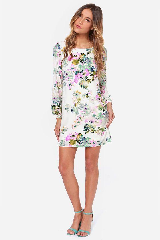 LULUS Exclusive Hydrangea Hopes Ivory Floral Print Dress