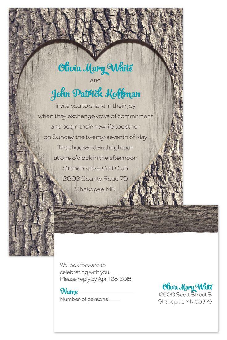 A rustic carved wood invitation that comes in way under budget @annsbargains  #rusticwedding #weddinginvitations