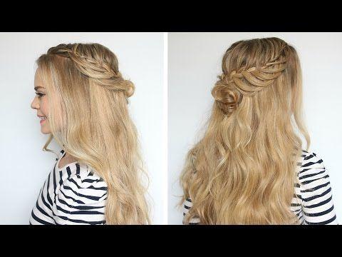 Romantic Hairstyle: Half-Up Flower Bun - YouTube Great festival hair.