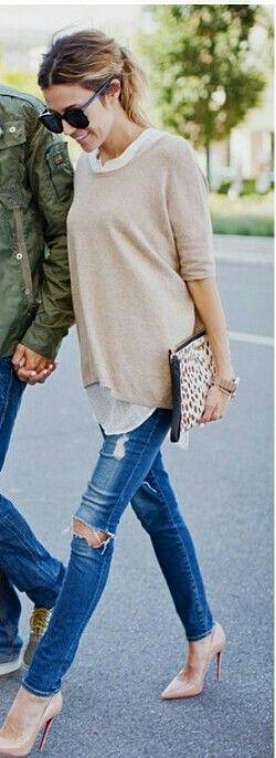 Camel sweater look