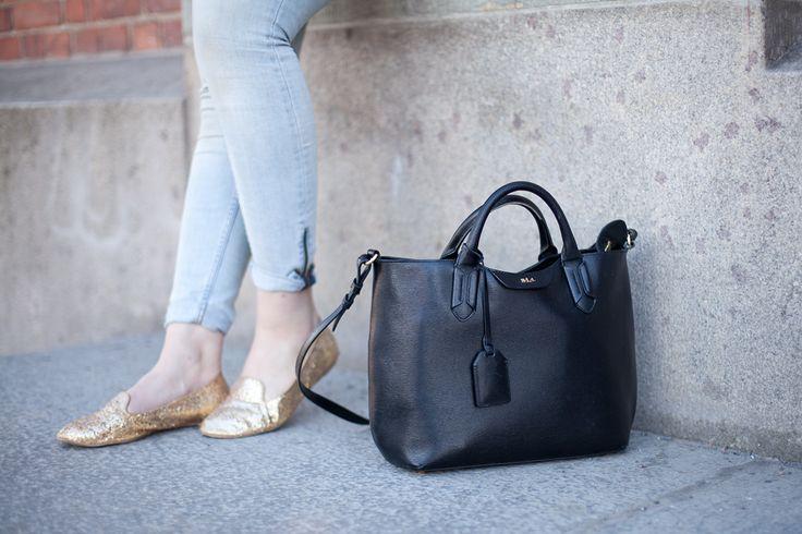 Denim Jeans | Golden Glitter Loafers | Black Leather Handbag Ralph Lauren | Turku | Spring | Jadeyolanda.fi