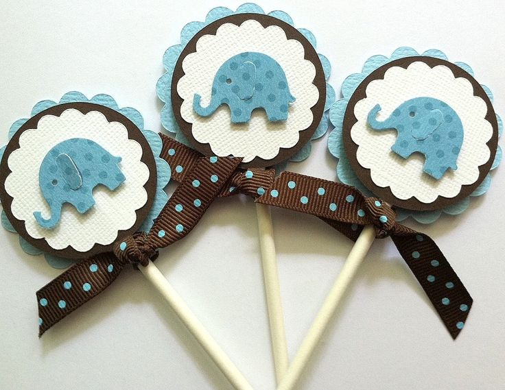Cupcake Toppers, Baby Shower Cupcake Toppers, Baby Boy Cupcake Toppers,  Elephant Cupcake Topper
