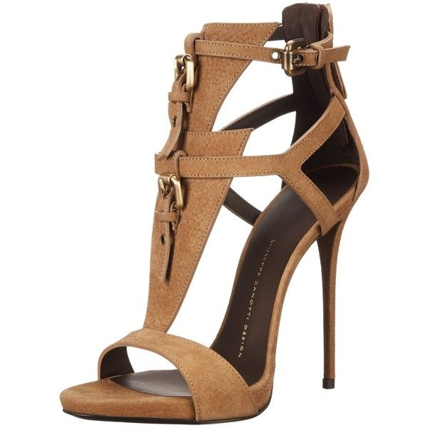 Giuseppe Zanotti Women's E50166 Dress Sandal ($468) ❤ liked on Polyvore featuring shoes, sandals, heels, high heels, chaussures, ankle strap shoes, heeled sandals, ankle strap stilettos, ankle strap dress sandals and high heel shoes