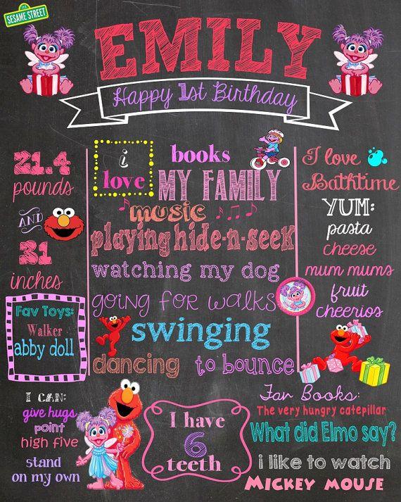 First Birthday Chalkboard -Sesame Street / Abby Cadabby theme chalkboard- Baby's First