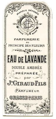 Very pretty French Perfume Label! Lots of lovely Scrolls on this one and great Typography too!     from: The Graphics Fairy blog