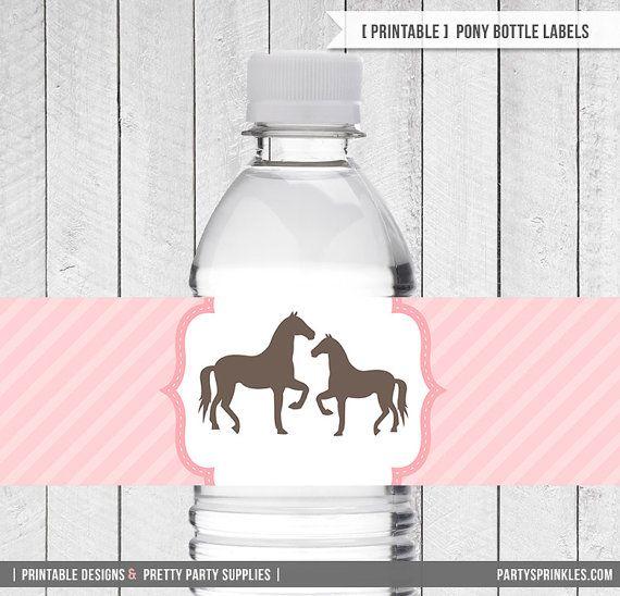 Vintage Pony / Horse Birthday Party Labels for Water Bottles, Milk Bottles / Printable DIY Labels [INSTANT DOWNLOAD]