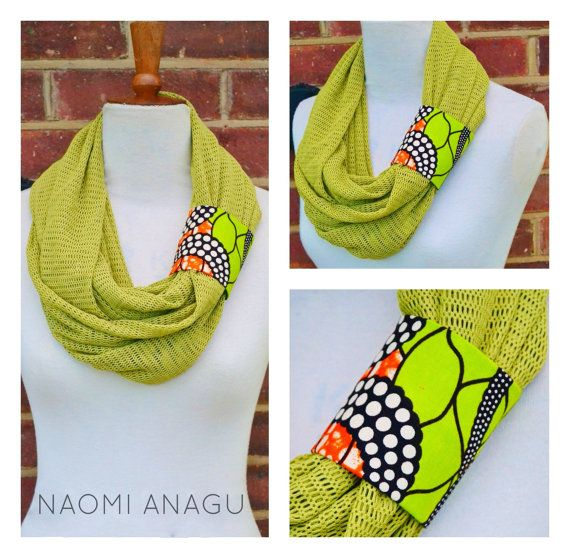 African Infinity Scarf/ Ankara Print Scarf/ African by naomianagu