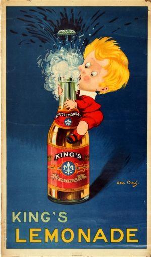 Kings Lemonade Onwy, 1920s - original vintage poster listed on AntikBar.co.uk
