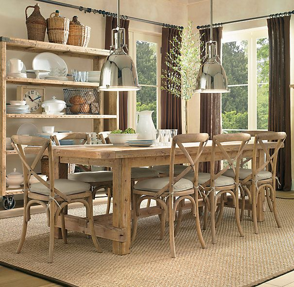 Breakfast Room.  Madeline Side Chair, weathered oak. $99.  Farmhouse table $2395 - $2995.  Benson Pendant $339.
