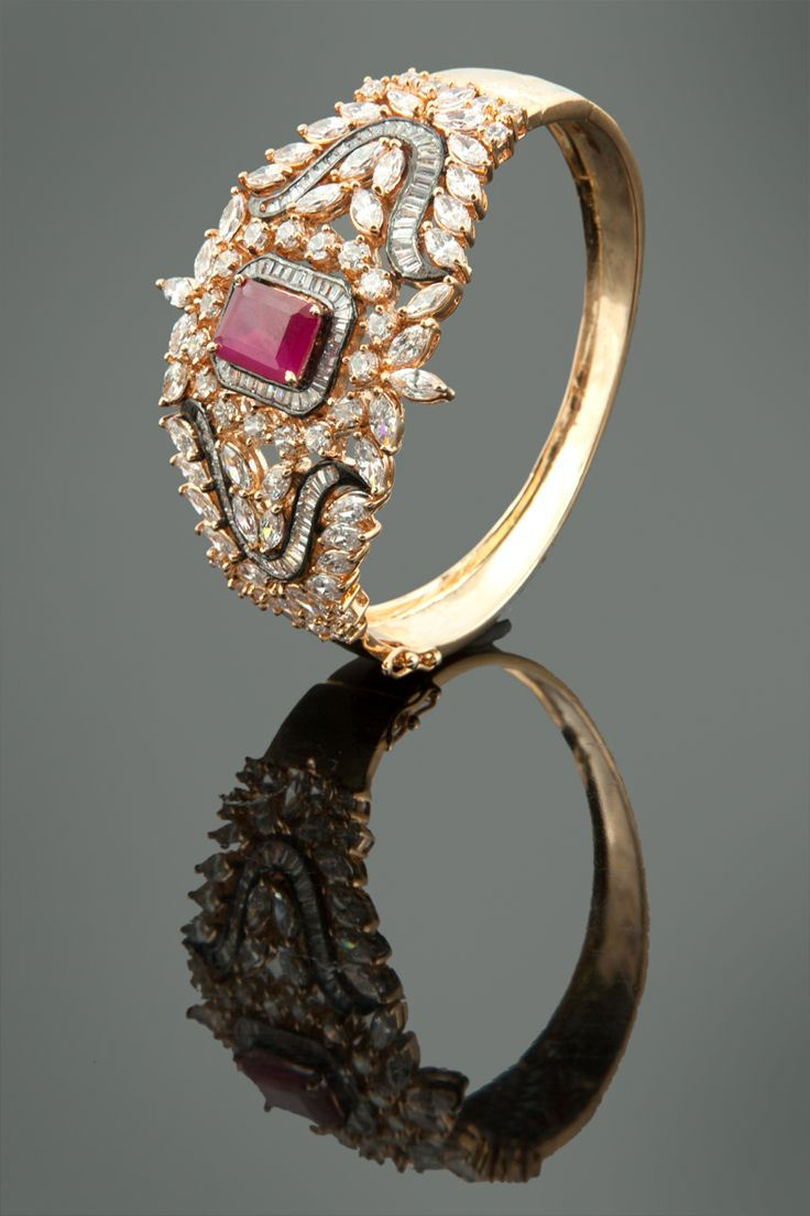 Diamond bangles latest jewelry designs jewellery designs - American Diamond With Ruby Stones Kada Ruby Stonediamond Banglediamond Ringsblack Rhodiumgold Platingantique Ringspretty Ringsbridal Jewelleryring Designs