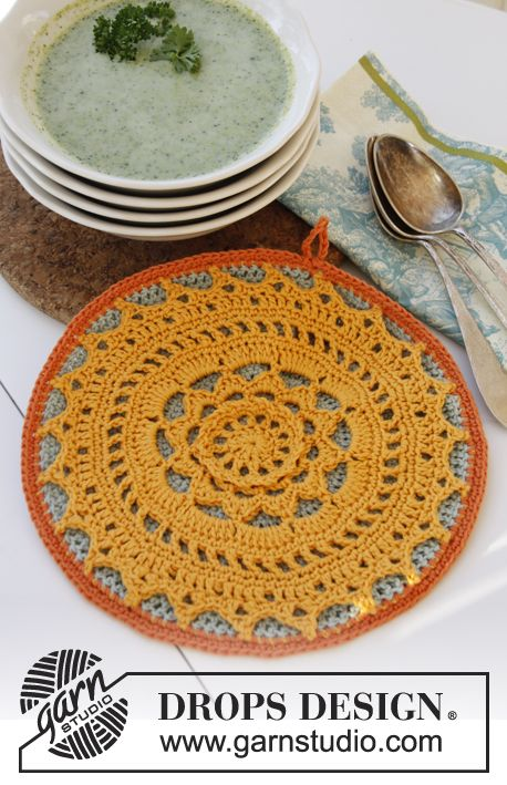 """Crochet DROPS pot holder in """"Safran"""". ~ DROPS Design [Pattern available to print.]"""