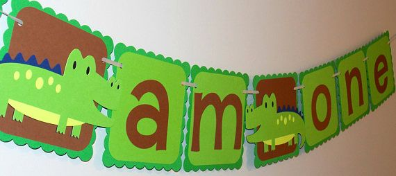 Alligator or Crocodile Birthday Party Banner. Perfect for a jungle theme party.  Check out this item in my Etsy shop https://www.etsy.com/ca/listing/567143695/alligator-happy-birthday-banner