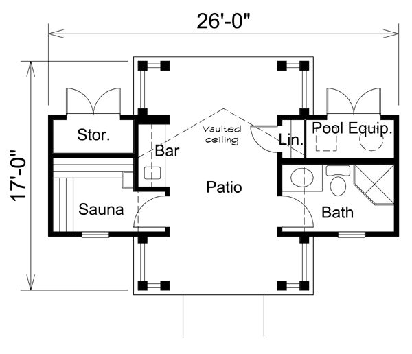 Pool House Building Plans: First Floor Plan Of Poolhouse Plan 95941