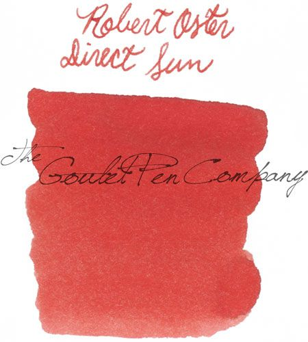 A 2ml sample of Robert Oster Direct Sun fountain pen ink, in a labeled plastic vial.